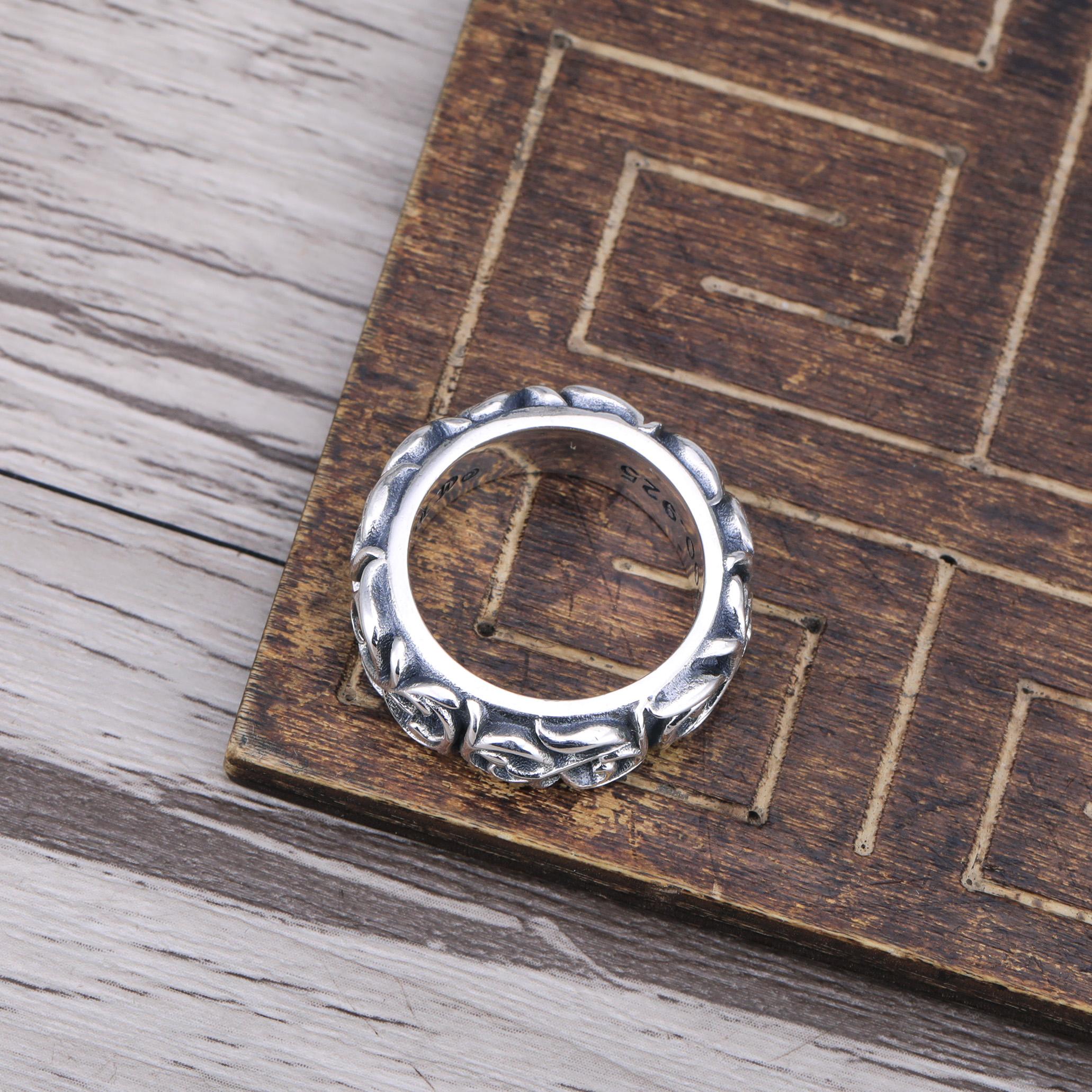 官网金六福925纯银饰品打造 复古做旧永恒之藤指环 泰银个性男女