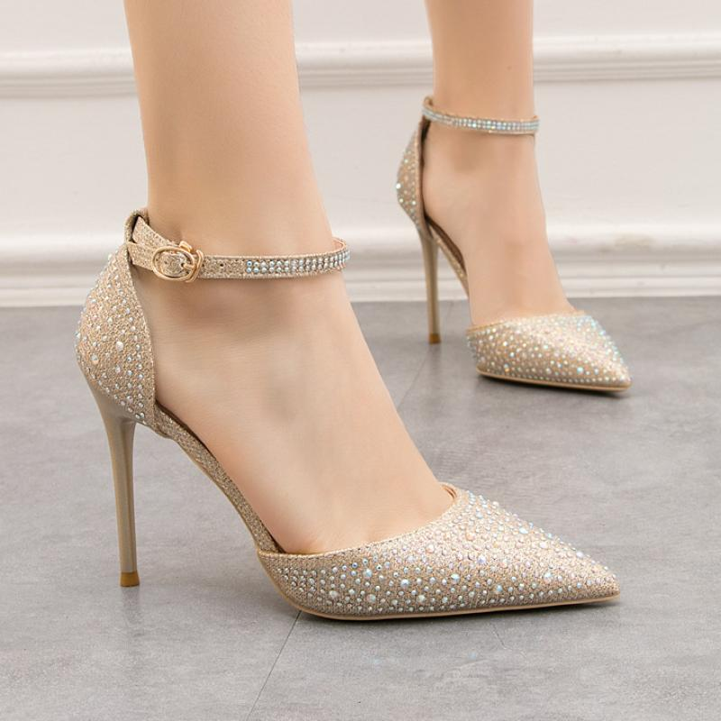 Water drill 9288-22 pointed female wedding shiny high heels cut out a word with sandals, fine heels, high heels, shallow Korean version