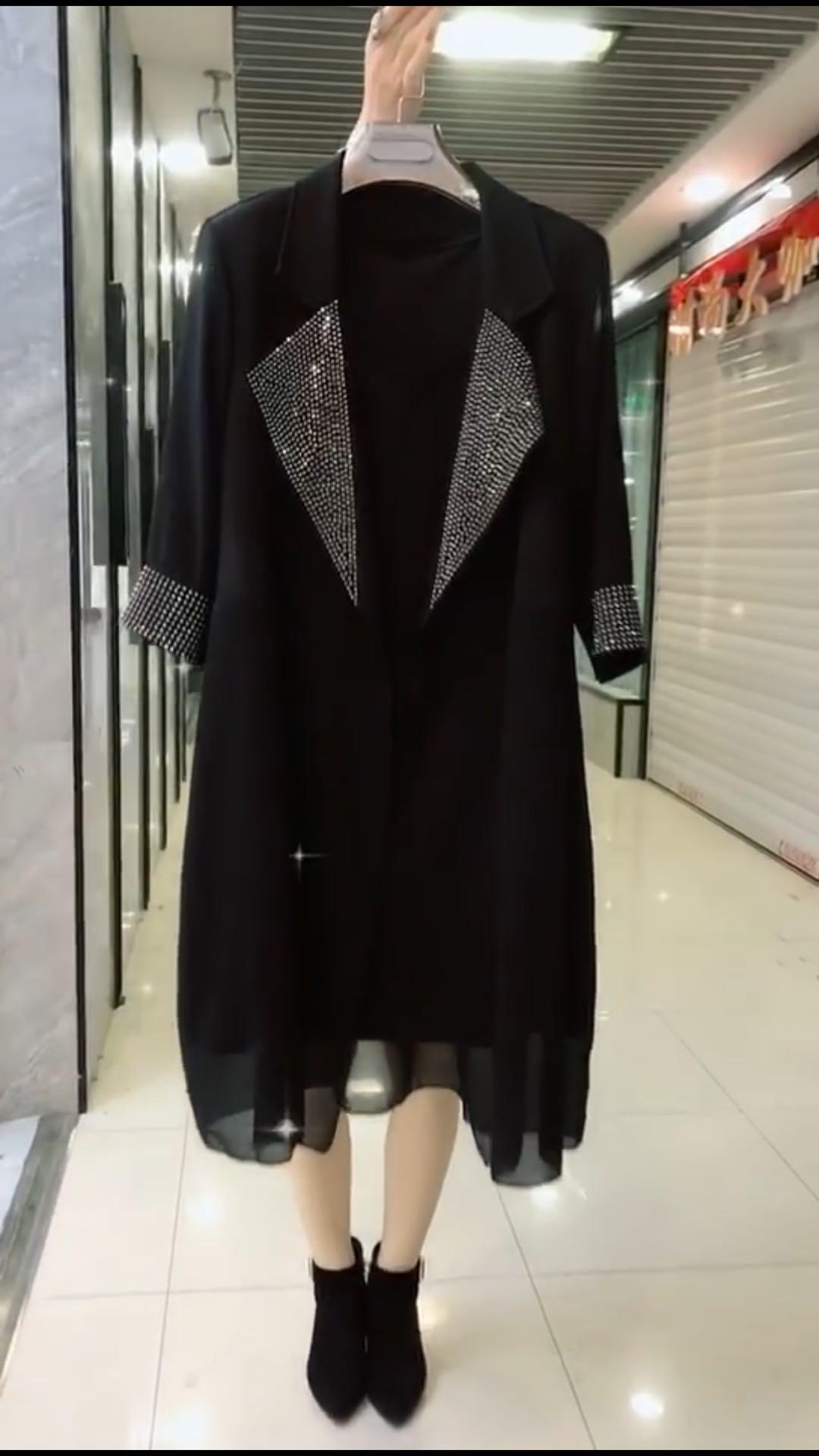 时尚套装女2020春季新款韩版显瘦女装名媛气质外套连衣裙两件套