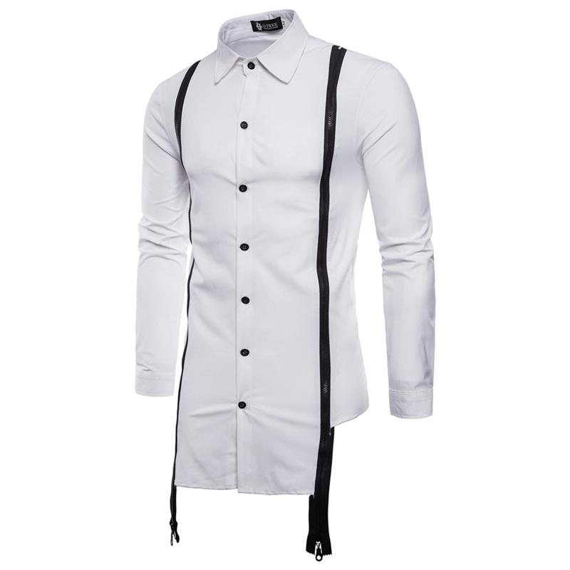 男士双拉链装饰长袖衬衫 发型师夜店韩版潮流衬衣man men's shirt