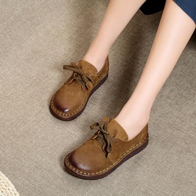 复古单鞋秋冬新款加绒真皮森女厚底牛筋底防滑软底文艺手工缝制鞋