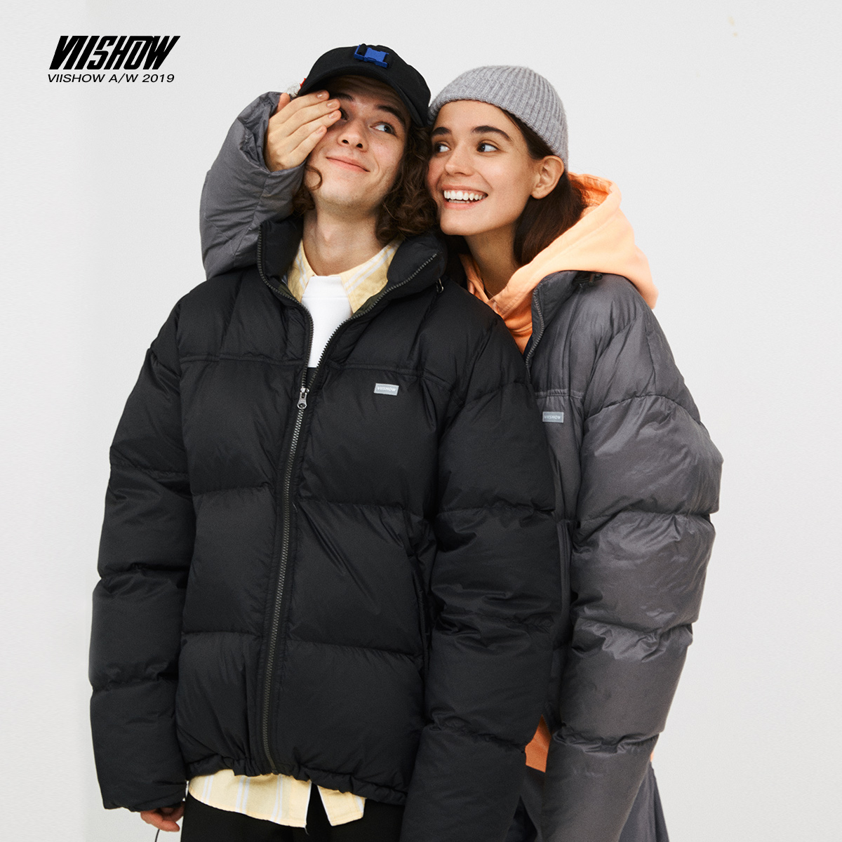 viishow2020 new winter down jacket men's trendy brand men's light and thin short jacket couple outfits bursting handsome