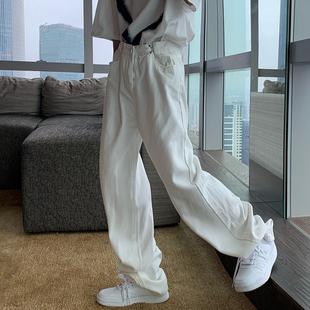 短句先生白色牛仔裤男潮牌秋季薄款韩版宽松拖地直筒休闲阔腿裤子