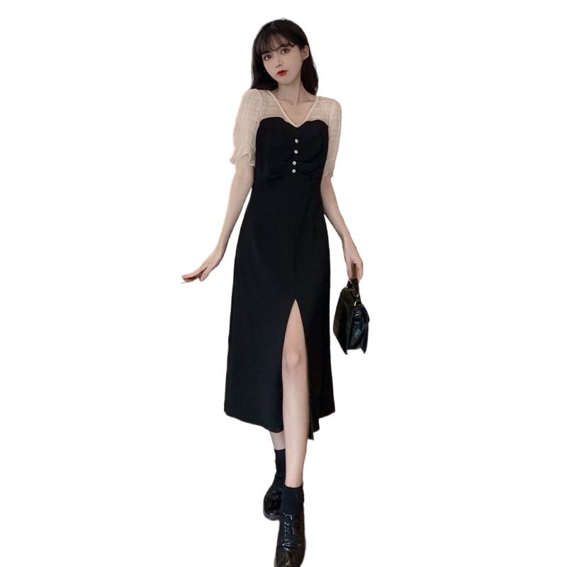 法式气质复古开叉连衣裙短袖胖mm大码女夏2021新款显瘦黑色长裙子