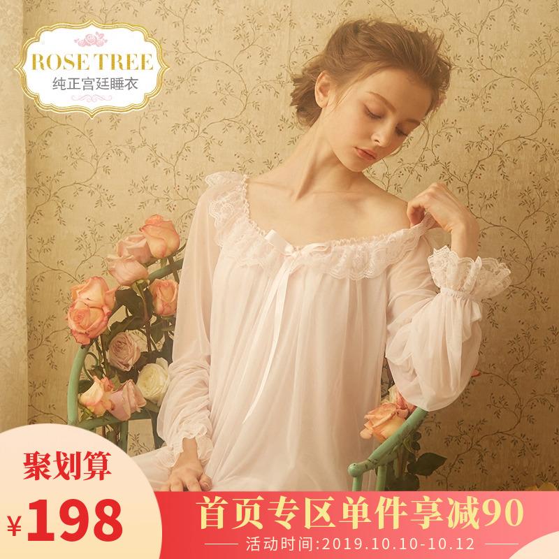 199.00元包邮rosetree宫廷春秋复古蕾丝冰丝睡裙