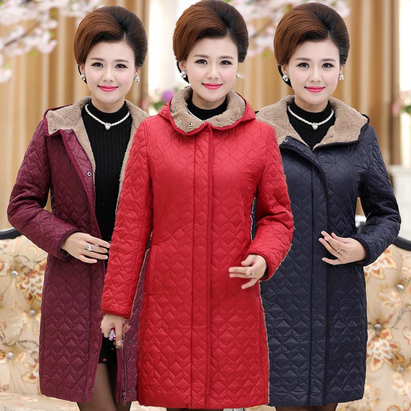 中年女装冬装棉衣40-50-60岁妈妈装 中长款棉服老年人外套羊羔绒