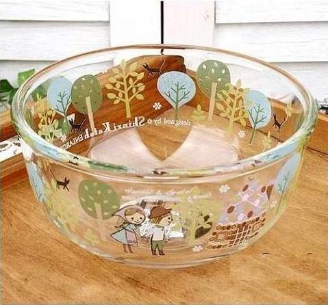 清仓亏本2只装家用耐热卡通玻璃碗水果沙拉米饭碗宝宝碗燕麦早餐