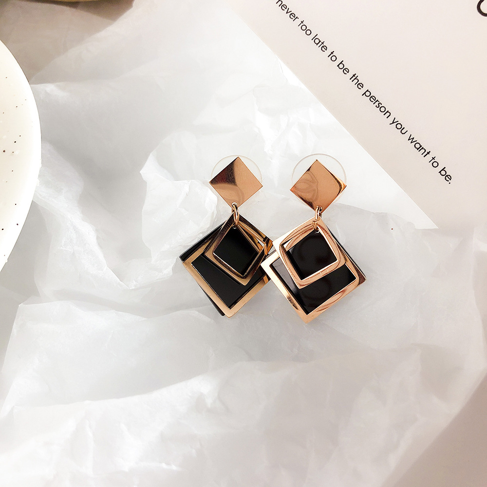 Korean style black diamond hollow out Square Earrings female rose gold multilayer square titanium steel accessories personalized Earrings