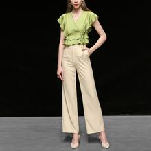 夏装2021新款女装气质休闲两件套潮V领上衣T恤阔腿裤裤子套装