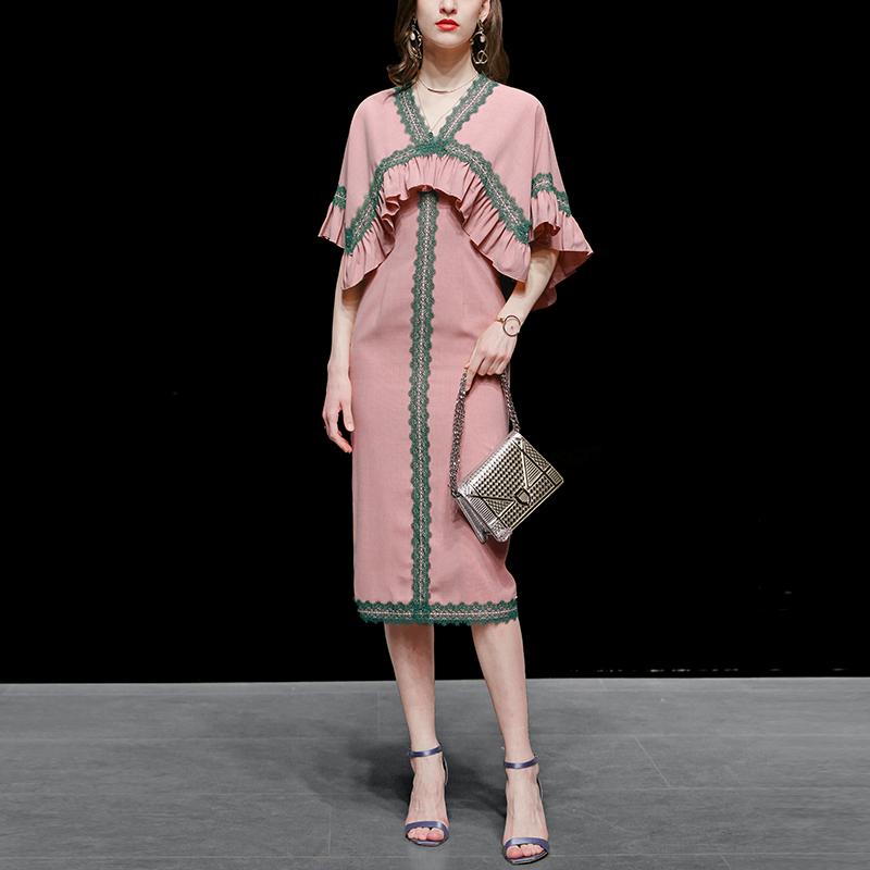 夏装2021新款女装粉色修身长裙气质包臀复古显瘦中长款连衣裙