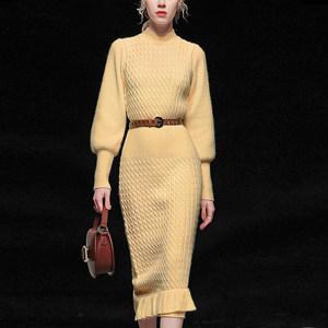 2021秋冬季新款时尚优雅半高领泡泡袖收腰荷叶边针织毛衣连衣裙