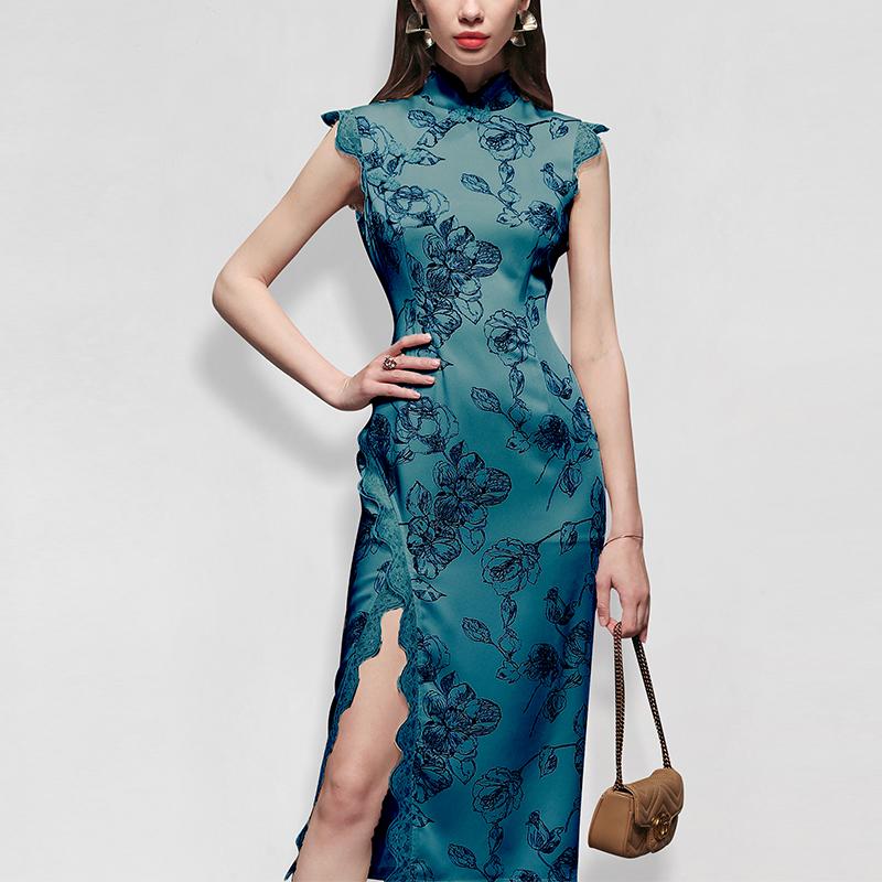 印花修身旗袍长裙气质性感显瘦中长款连衣裙女装夏季2021新款
