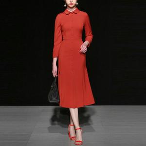 红色修身衬衫长裙裙子气质长袖显瘦中长款连衣裙女装春装2020新款