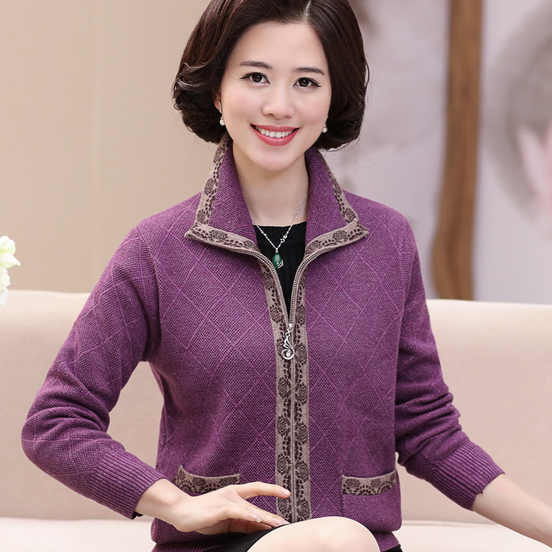 Middle aged and old womens clothing spring clothing autumn and winter middle aged mothers clothing jacket plus fat oversize knitted cardigan sweater