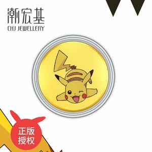 潮宏基宝可梦联名款黄金金币金钞皮卡丘杰尼龟0.2克 N