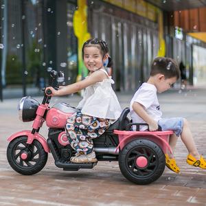 双人童车三轮车儿童电动摩托车玩具汽车可坐人带遥控男孩宝宝充电