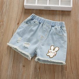 女童短裤2020新款夏季薄款宝宝外穿洋气裤子韩版中大童女孩牛仔裤图片