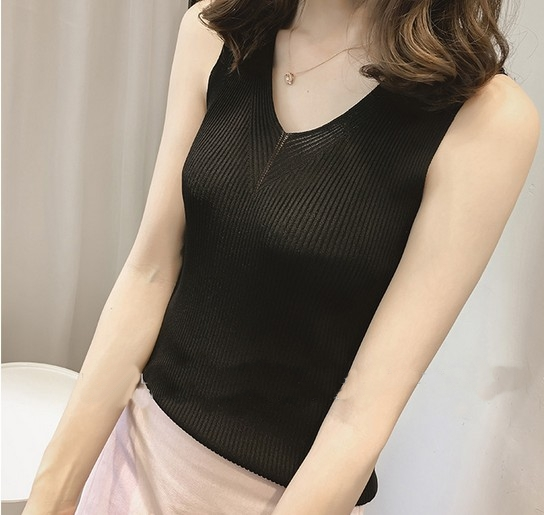 Yaqiao spring and summer ice silk bottomed shirt loose V-neck suspender vest top wearing short vertical stripe thin T-shirt