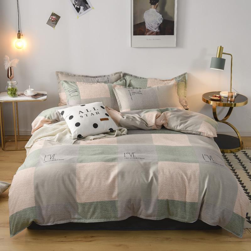 无印纯棉高端四件套单双人床宿舍床上用品学生被套床笠床品套件