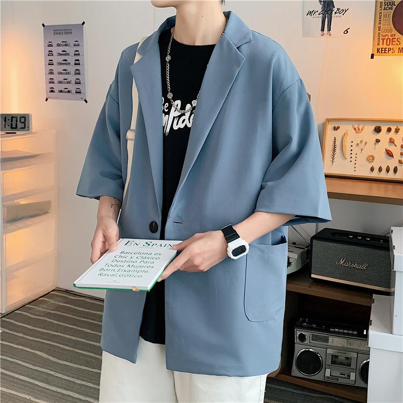 港风夏款男短袖西装外套中袖单西七分袖外套小西服Y330 P45