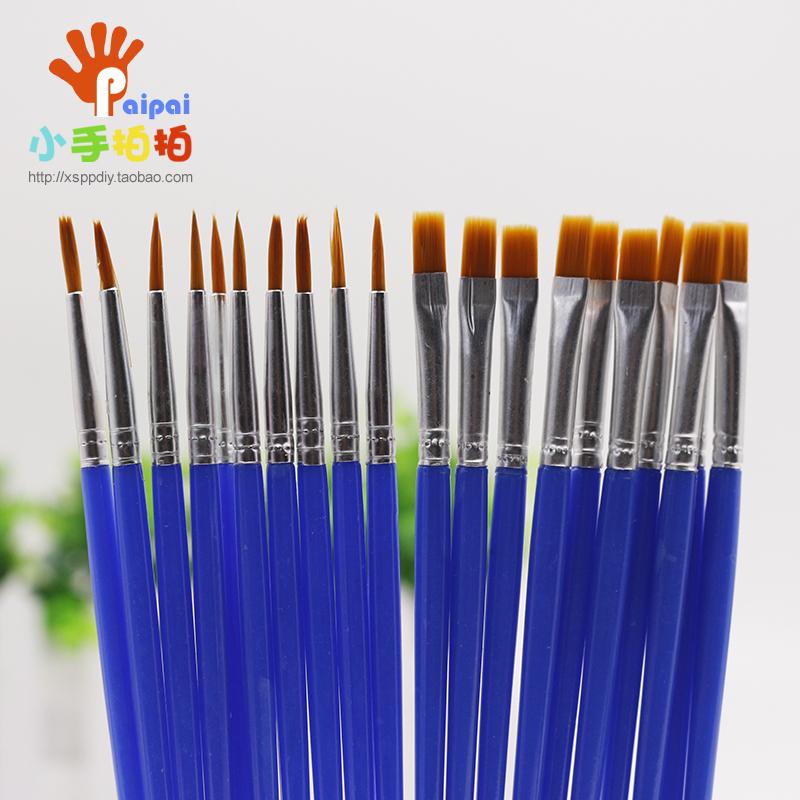 平头尼龙画刷尖头笔刷涂鸦涂色儿童幼儿园DIY绘画手工具