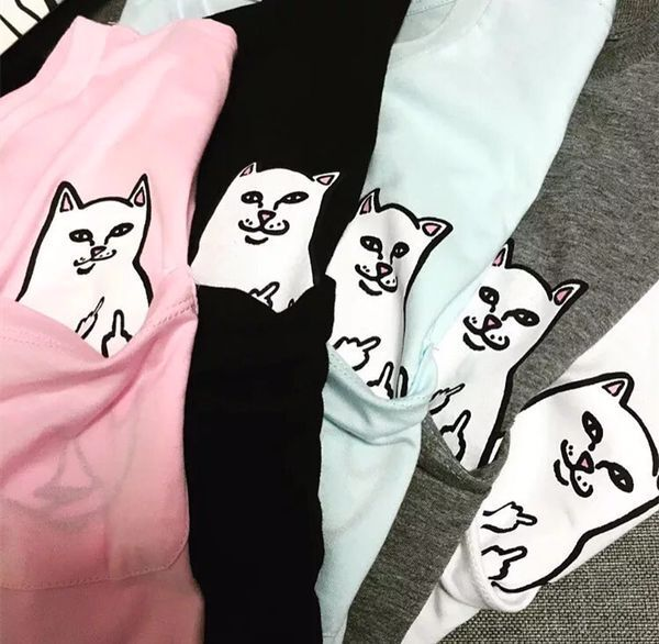 European and American fashion brand pocket vertical middle finger cat men and women lovers short sleeve T-shirt