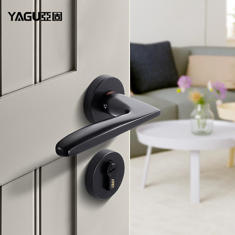 亚固卧室房门锁静音室内门锁三件套实木简约门锁黑色分体美式门锁