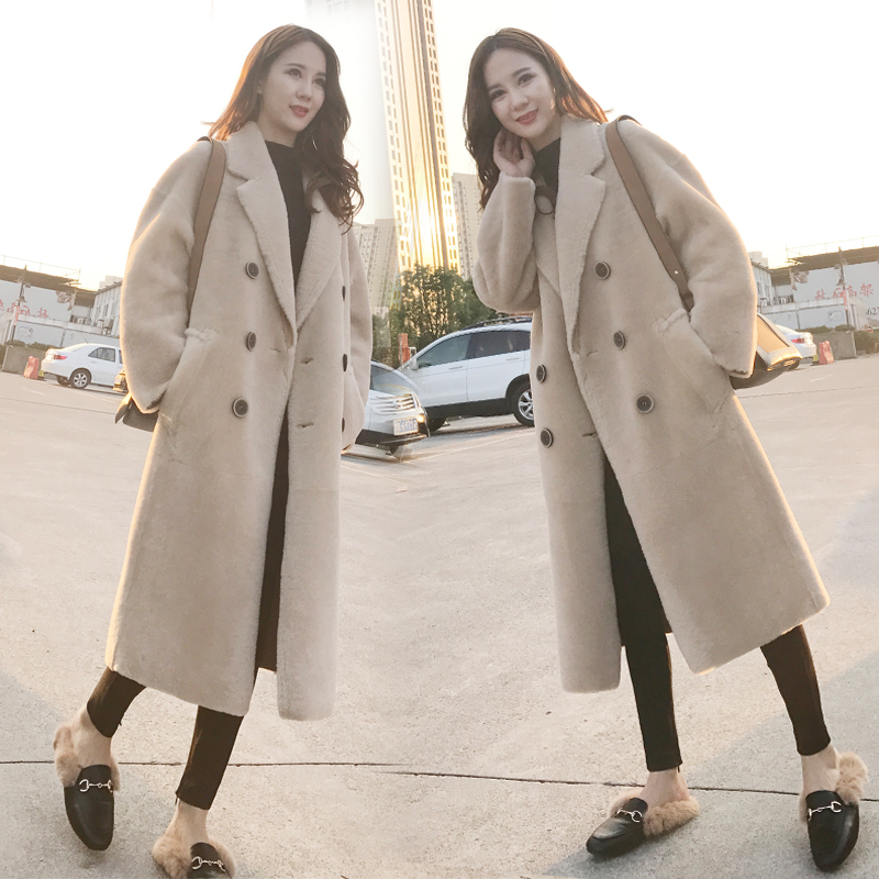 2020 new style over knee sheep shearer coat womens long lamb fur fur one piece imitation fur coat