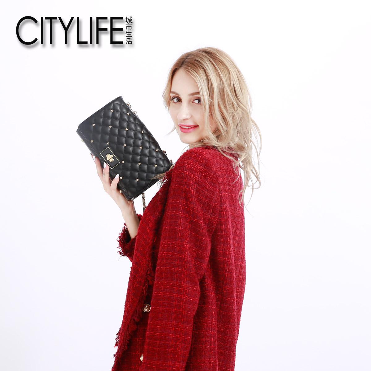 citylife城市生活包包新款菱格��l包小香�L女包�渭缧笨姘�小包包