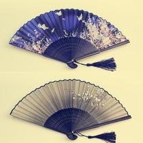 扇子折扇中国风古风女日式小复古布夏季跳舞舞蹈折叠古典古装流苏