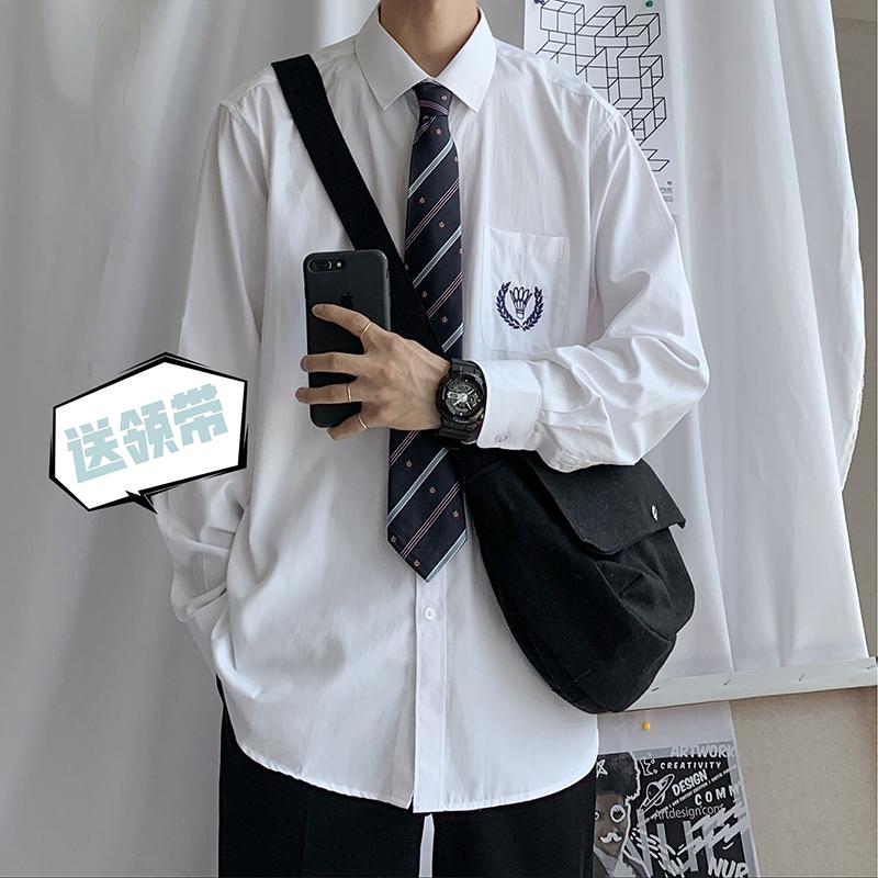 送领带正品原创刺绣长袖jk衬衫男dk制服情侣学院风白衬衣学生班服