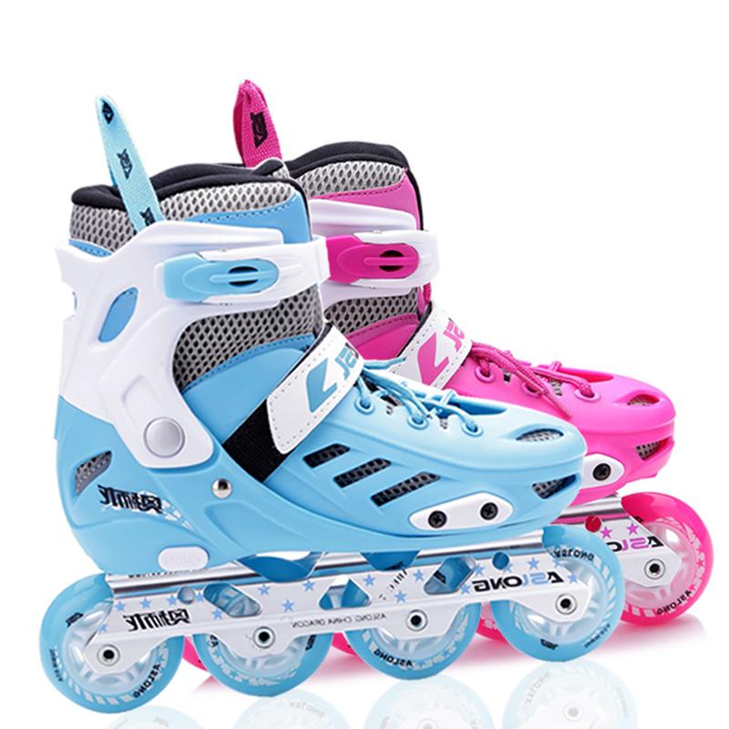 Aoshilong roller skates roller skates childrens full set adjustable straight wheel training beginners fancy roller skates men and women