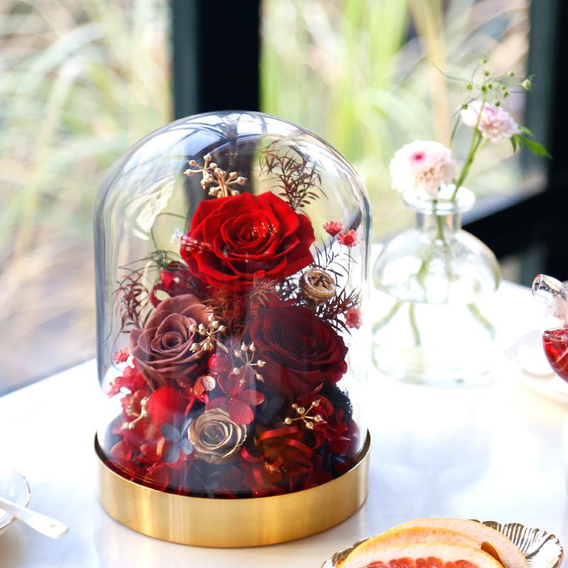 永生花表白情人节礼物干花束玫瑰玻璃罩生日礼盒送老婆送女友