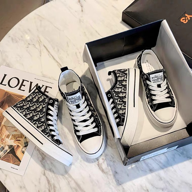 Autumn small fragrance wind inner high top canvas shoes womens printing leisure 41 thick soleplate shoes 20 new large European station