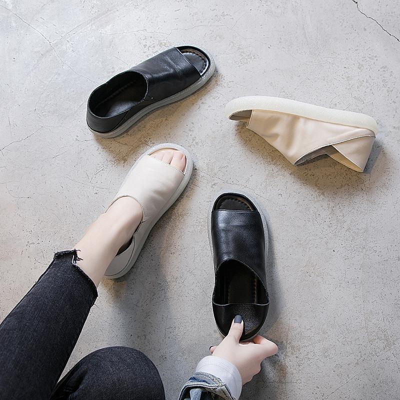 旅游休闲鞋女2020新款韩版舒适软底真皮鱼嘴鞋女平底凉鞋女夏两穿
