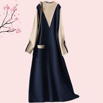 欧美高端大码女装秋冬时尚胖MM显瘦撞色拼接宽松假两件针织连衣裙