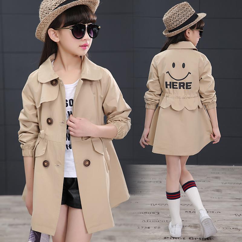 女童風衣外套春裝2018新款兒童風衣外套女韓版雙排扣翻領中長款薄圖片