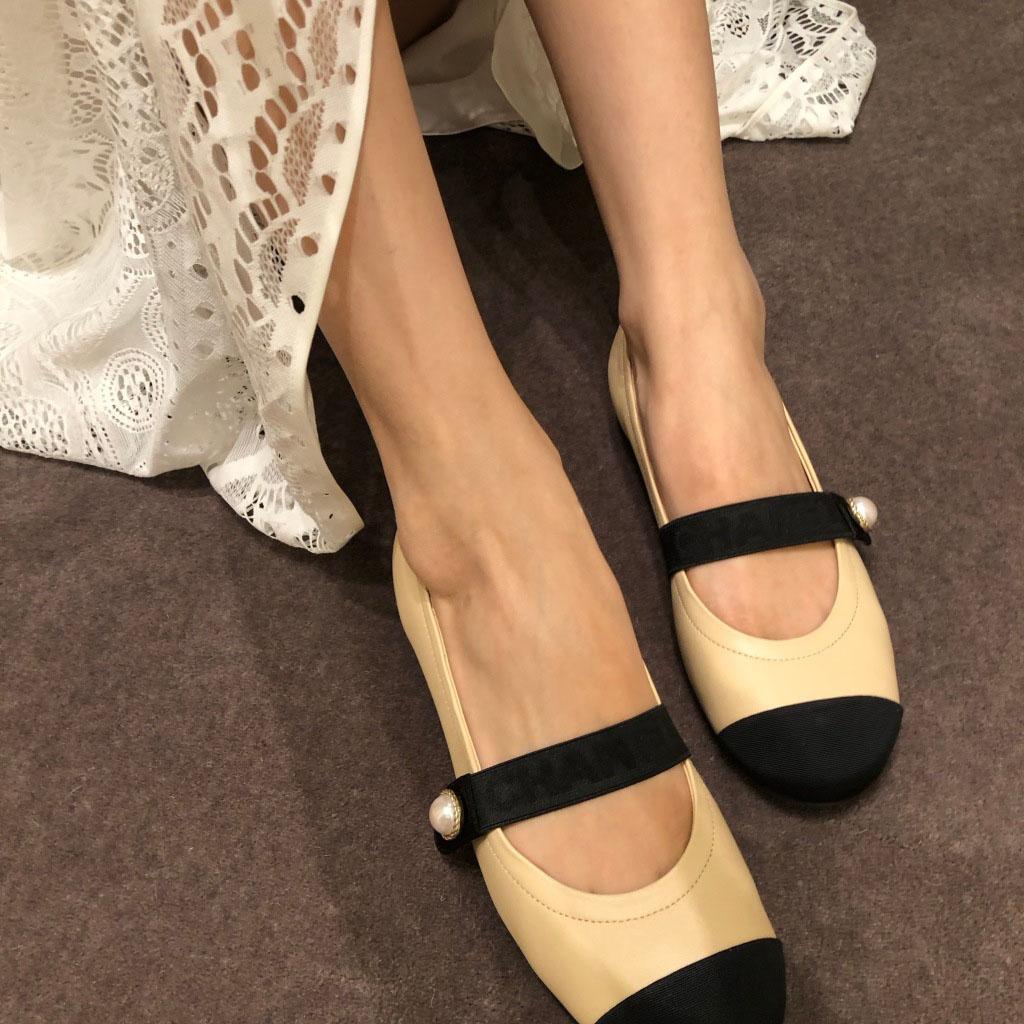 小香风平底单鞋女2019新款秋鞋复古玛丽珍鞋浅口圆头芭蕾舞小皮鞋