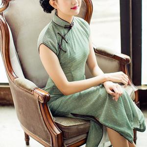唐之语春夏复古文艺民国风雪纺中式长款少女日常生活装旗袍连