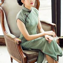 唐之语春夏复古文艺民国风雪纺中式长款少女日常生活装旗袍连衣裙