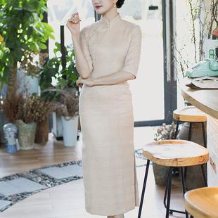 唐之语新款复古民国风中长款棉质六分装袖中长袖格子秋季旗袍裙女