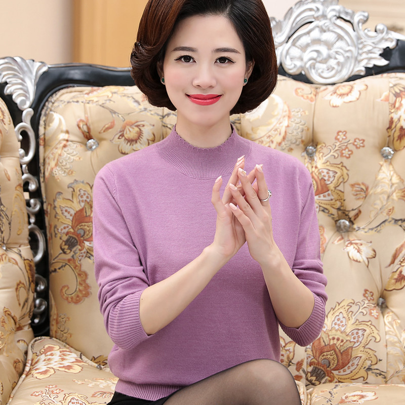 Middle aged and old peoples knitted base coat female middle aged 40-50 mother spring and autumn winter clothes woolen clothes old womans thin style