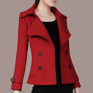 短毛呢外套女春秋流行新款 修身 双排扣西装 显瘦薄款 领小个子短外套