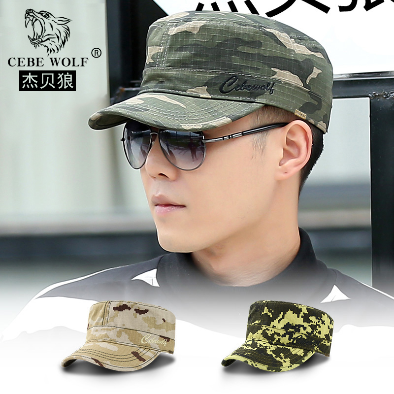 Mens hat spring and autumn flat top hat Camouflage Army hat mens winter outdoor sports hat Korean fashion duck tongue hat