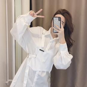 高端白色衬衫女设计感小众别致上衣春装2021年新款女衬衣时尚洋气