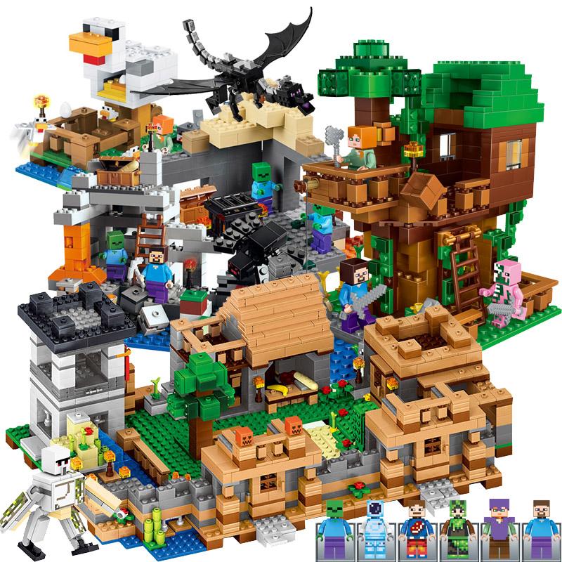 兼容乐高我的世界积木苦力怕史蒂夫末影人偶组装房子男孩拼装玩具