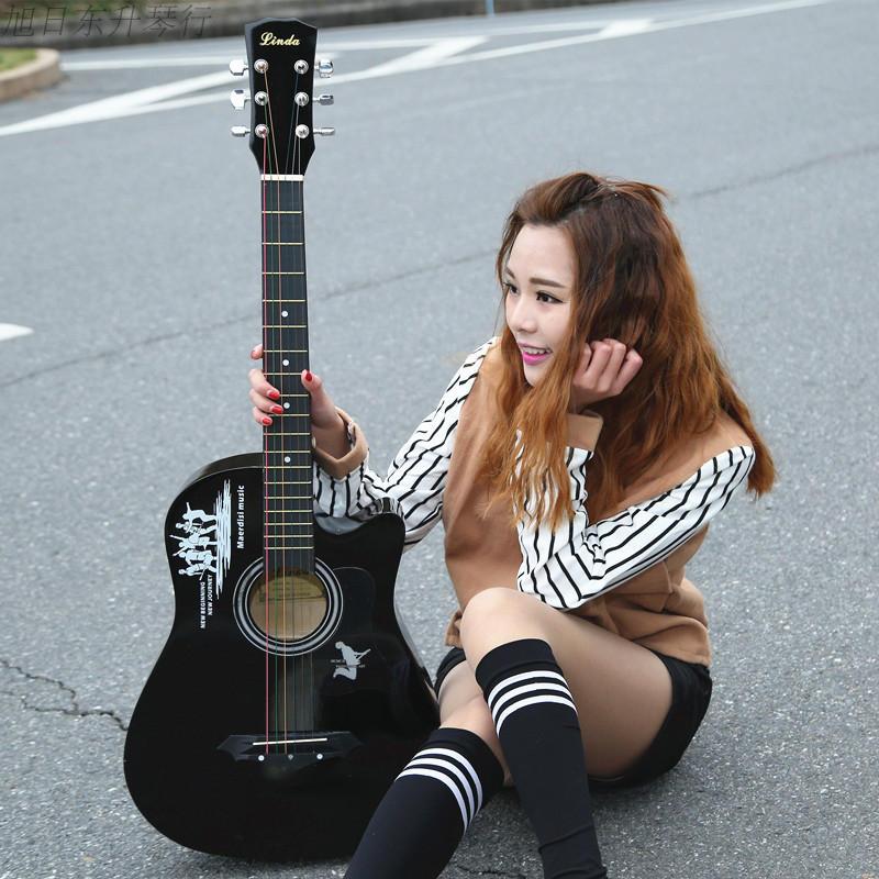 Бесплатная доставка 38 дюймовый баллада дерево гитара новичок мужской и женщины студент практика музыкальные инструменты большая подарочная упаковка в подарок новая рука начиная jita