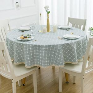 格子棉麻圆桌布布艺小清新欧式圆形桌布家用台布小圆桌茶几餐桌布