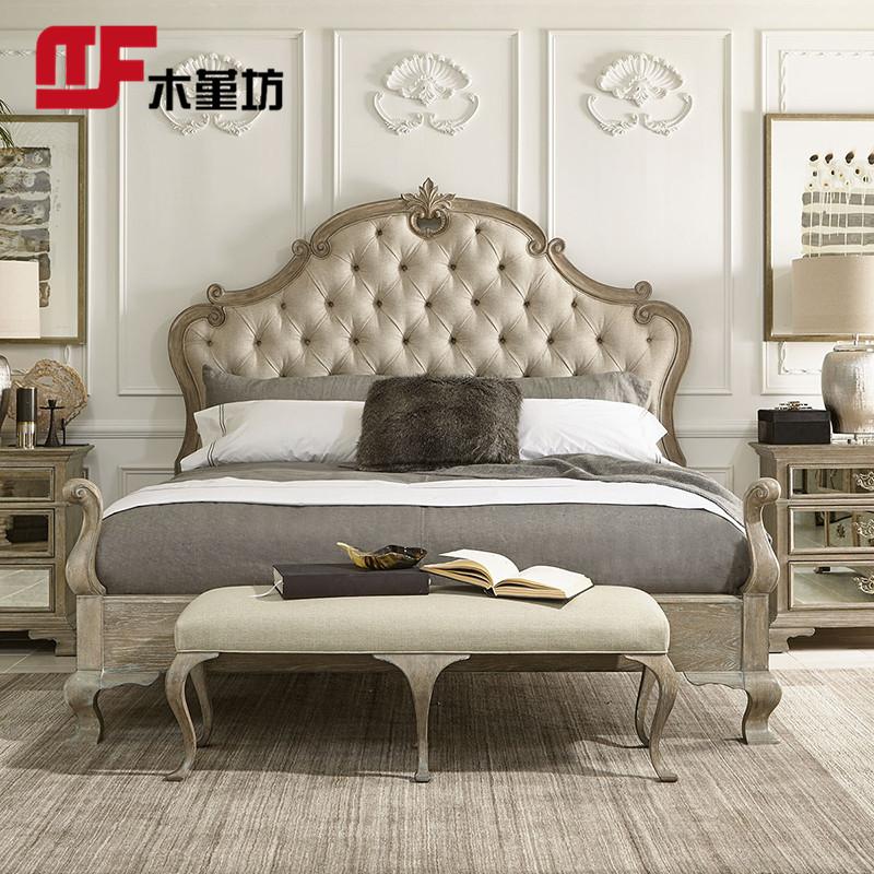 美式床法式乡村复古做旧1.8米双人床风化色橡木实木床拉扣雕花床(非品牌)