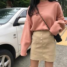 实拍实价~已检测 韩版百搭个性口袋半身裙A字裙 754